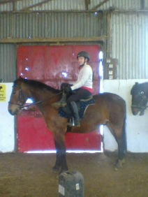 Victoria decided to try a sidesaddle lesson.